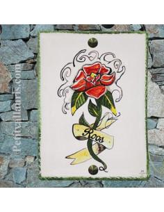 plaque entée de maison en céramique avec motif fleur reproduction de tatouage avec gravure personnalisée