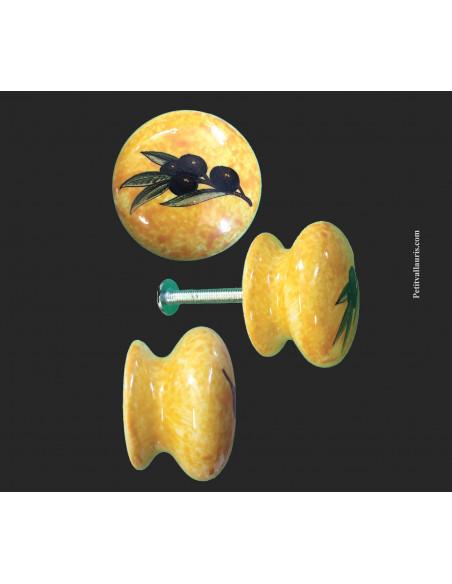 Bouton de tiroir meuble décor Provençal sur fond jaune (diamètre 35 mm)