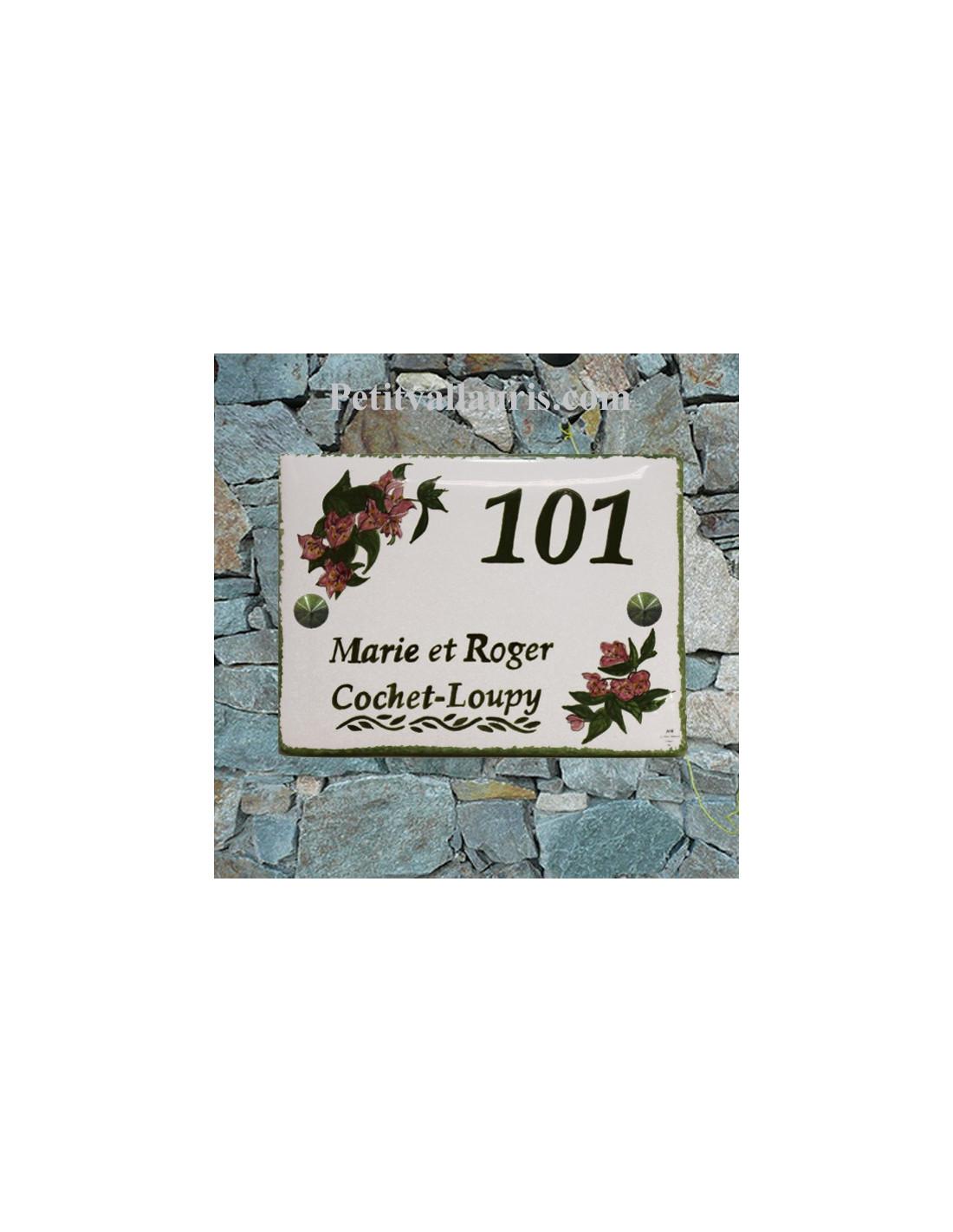 plaque d 39 habitation ext rieure en faience au motif bougainvilliers avec num ro et nom personnalis. Black Bedroom Furniture Sets. Home Design Ideas