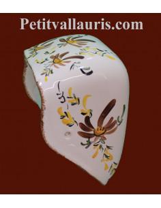 """Dérouleur """"ouvert"""" de papier toilette en céramique motif artisanal fleurs marrons"""
