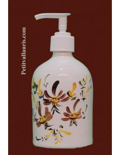 Distributeur de savon liquide en faience décor Fleurs artisanale marrons