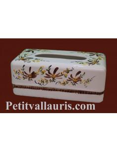 Boîte ceramique blanche à mouchoirs en papier motif Fleuri marron