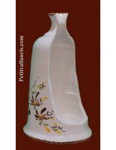 Porte-support balayette à poser en céramique blanche décor Fleuri marron