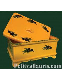 Boîte à sucre décor olives noires fond jaune provençal