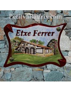 Plaque céramique pour villa modèle grand modèle parchemin décor personnalisé Maison client du pays basque