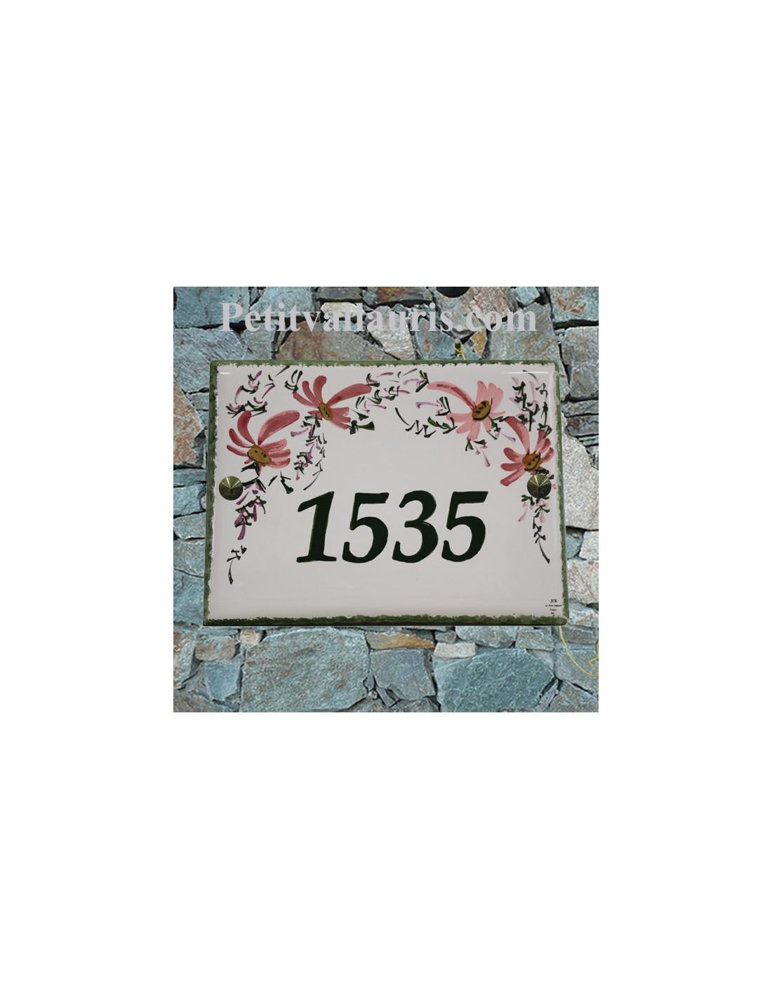 plaque personnalis e en c ramique d 39 entr e d 39 habitation fleurs roses fabriqu e dans le sud de la. Black Bedroom Furniture Sets. Home Design Ideas