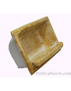 Porte savon en faience modèle rectangle à encastrer de couleur dégradée ocre jaune brillant