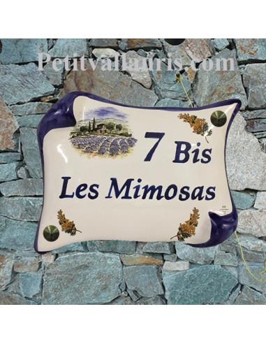 Plaque de Maison en céramique modèle parchemin 14x21 décor paysage bastide provençale brins de mimosas inscription personnalisée