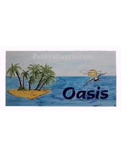 Grande plaque-Fresque en faience décorative au motif personnalisé ilot + cocotiers + mouette