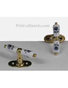 Poignée en porcelaine modèle Crémone avec finition laiton motif Tradition fleurs bleu