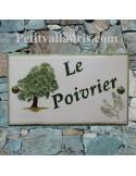 Plaque gravure et dessin personnalisé pour votre maison en faïence motif poivrier