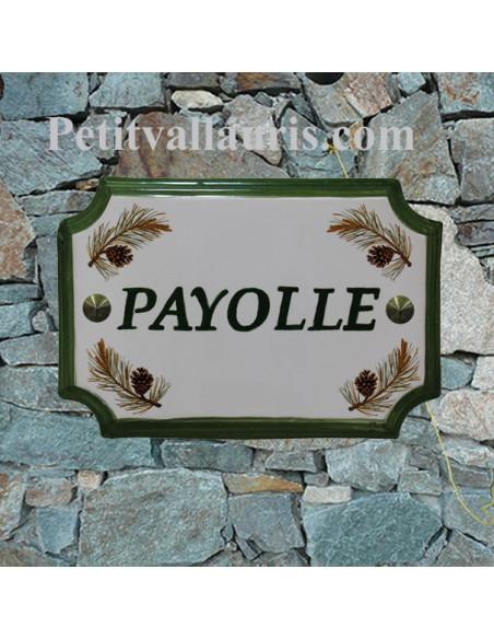 Plaque de Maison en céramique aux angles incurvés motif pomme de pin + marquage personnalisée verte