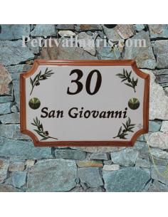 Plaque de villa en faience motif brins d'olives + inscription personnalisée + bord ocre