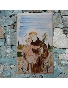 Grande plaque en céramique émaillée forme rectangle décor motif artisanal Saint Antoine de padoue