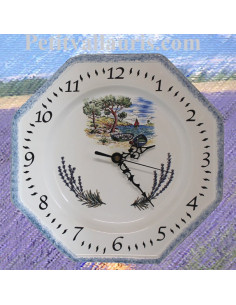 Horloge murale octogonale en faïence décor motif provençaux Calanque et Lavande