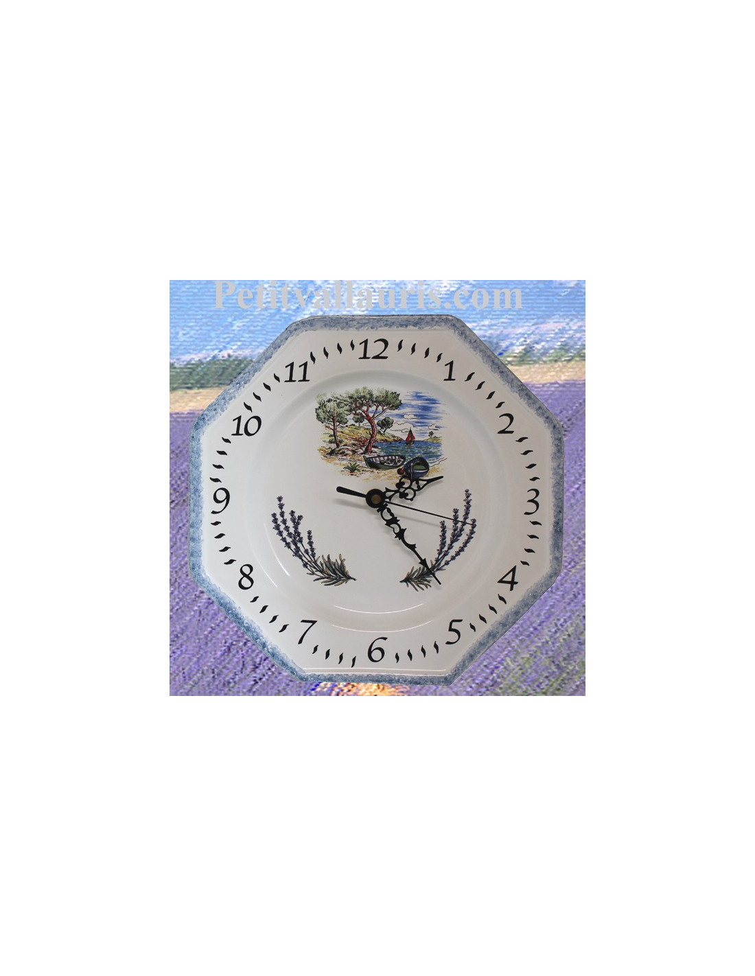 Horloge murale octogonale en fa ence d cor motif for Faience decorative murale