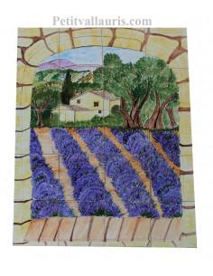 Fresque murale sur carrelage 15 x 15 en faience motif artisanal bastide + lavandes + oliviers
