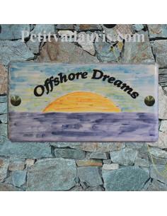 Grande plaque de maison rectangle en faience 40 x 20 cm décor artisanal Coucher de soleil sur la mer avec personnalisation