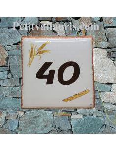Plaque numéro de Maison en faience motif baguette de pin et épis de blé inscription personnalisée
