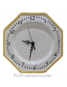 Horloge murale en faience modèle octogonale émaillée unie blanche + bord jaune paille