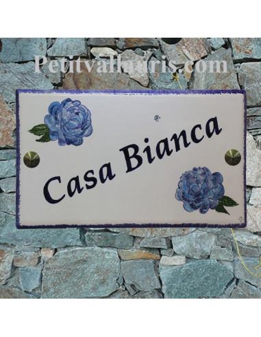 Grande plaque de maison rectangulaire 20x33 en céramique motif artisanal les pivoines bleues + personnalisation