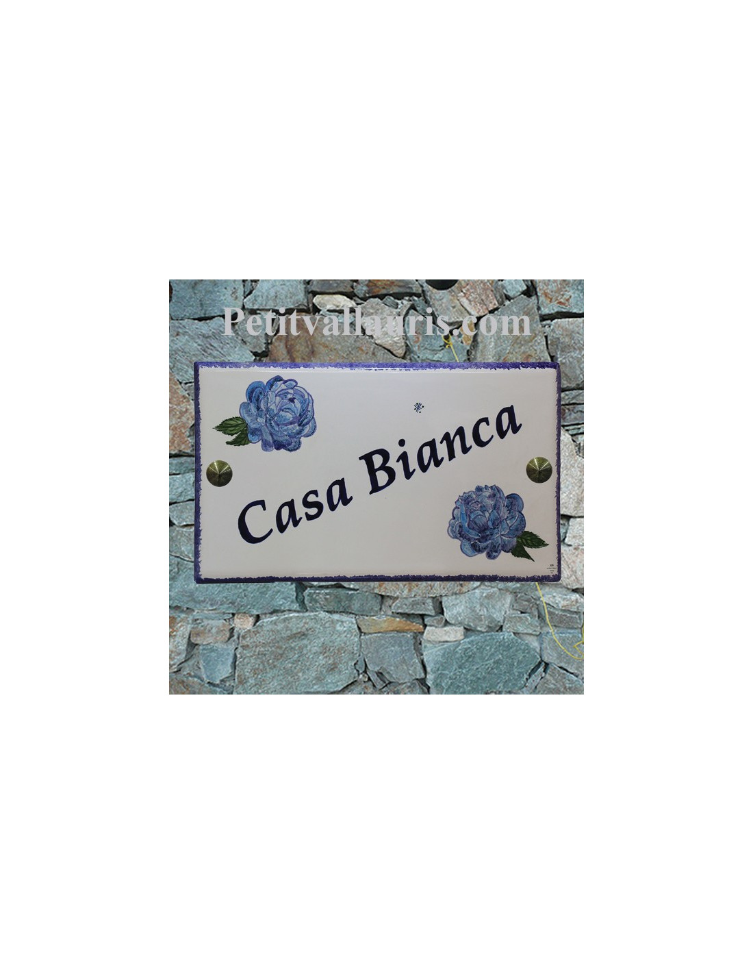 grande plaque de maison rectangulaire 20x33 en c ramique motif artisanal les pivoines bleues. Black Bedroom Furniture Sets. Home Design Ideas