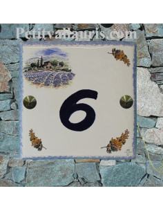 Plaque numéro de maison en faience émaillée motif paysage provençal et brins de mimosas + chiffre personnalisable bleu