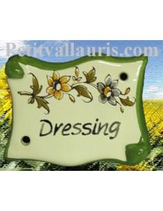 Plaque de porte parchemin Dressing vieux moustiers polychrome