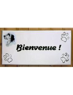 Plaque rectangulaire de maison en céramique émaillée motif chien Setter + inscription personnalisée