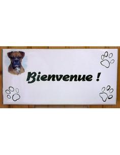 Plaque rectangulaire de maison en céramique émaillée motif chien Boxer + inscription personnalisée