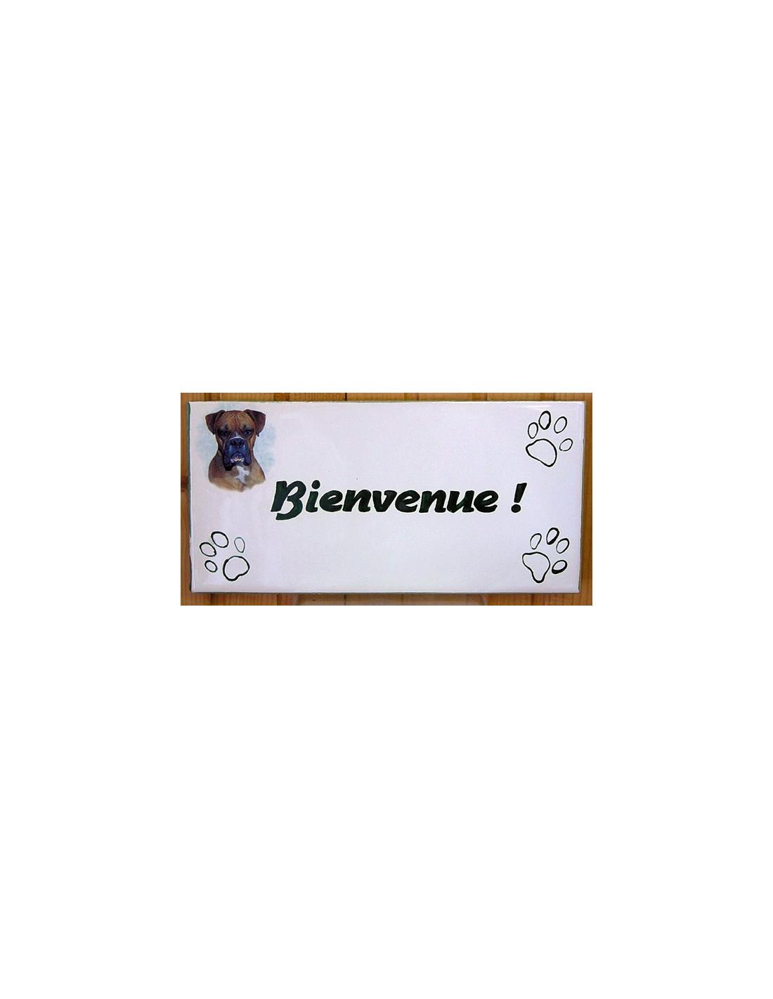 plaque rectangulaire de maison en c ramique maill e motif chien boxer inscription. Black Bedroom Furniture Sets. Home Design Ideas