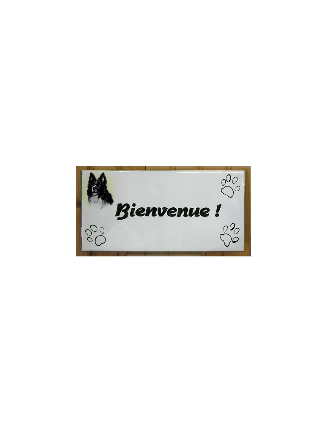 plaque rectangulaire de maison en c ramique maill e motif border collie inscription. Black Bedroom Furniture Sets. Home Design Ideas