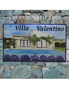 Grande plaque de maison en céramique modèle rectangle avec motif artisanal motif Client villa bord de mer noire