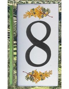 Numero de rue chiffre 8 décor brins de mimosas