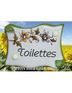 Plaque de porte parchemin Toilettes vieux moustiers polychrome