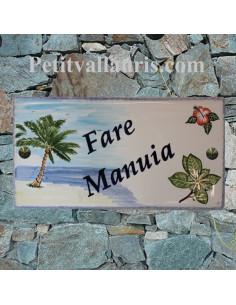 Grande plaque rectangle en faience décor artisanal palmier + hibiscus + fleurs de tiaré + personnalisation