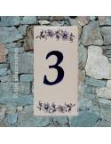 Numero de rue à coller en faience chiffre 3 motif fleurs tradition bleu
