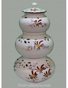 Conservateur pour Ail, Oignon et Echalotte 3 pots empilés décor fleurs rosuges foncées