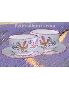 Tasse à déjeuner et sous tasse décor Fleuri rose