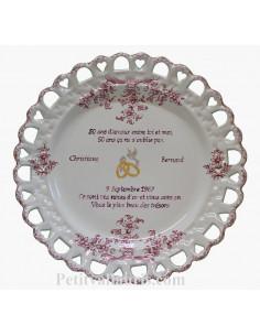 Assiette de Mariage modèle Tournesol rose gravure personnalisée noces d'or,inscription rose