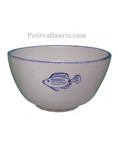 Grand Saladier en faience blanche au motif artisanal poissons bleus