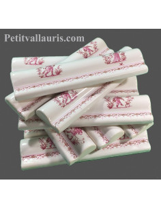 Listel - bordure en faience modèle corniche décor Tradition Vieux Moustiers rose