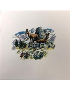 Carrelage mural blanc au motif décor couple de chamois en montagne