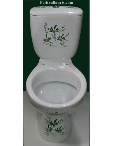 Toilettes et WC en porcelaine au décor artisanal fleurs vertes et ...