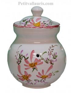 Pot conservateur à ail en faïence pour la cuisine décor artisanal fleurs roses