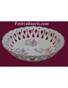Coupe à fruit ajourée ronde D30 en faience blanche reproduction décor XVIII ème siècle rose