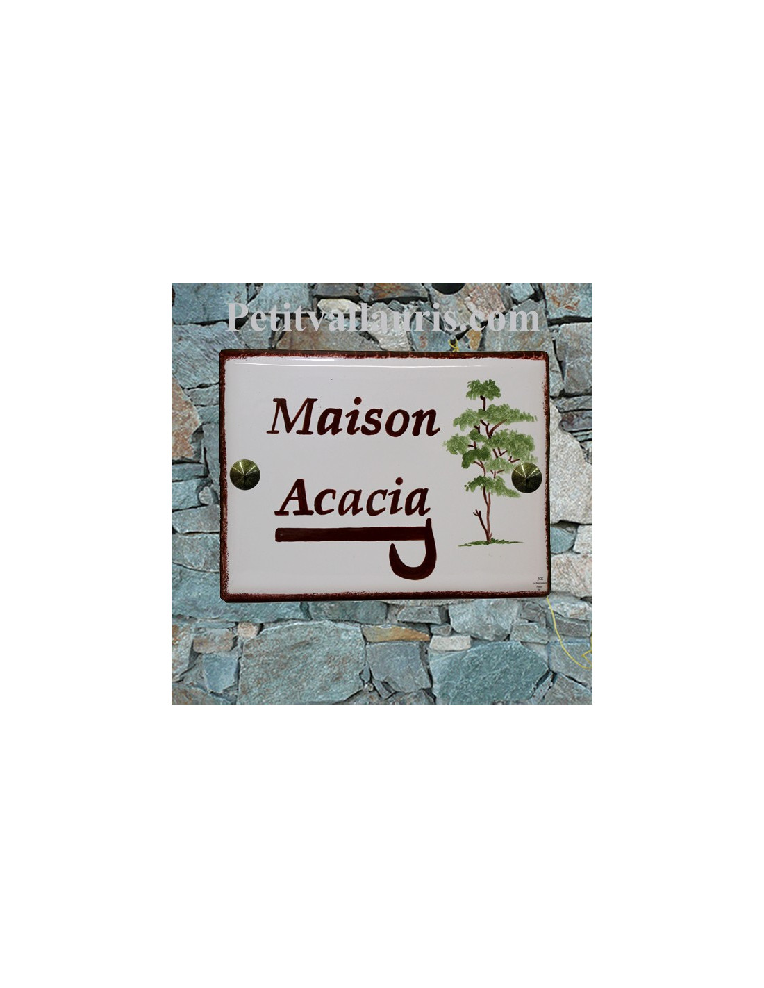 plaque de villa et de maison en c ramique francaise avec personnalisation et d cor acacias. Black Bedroom Furniture Sets. Home Design Ideas