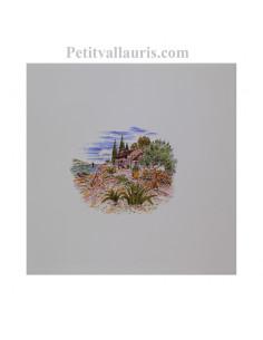 Carreau de faience au décor motif paysage de provence le cabanon taille carreau 20 x 20 cm