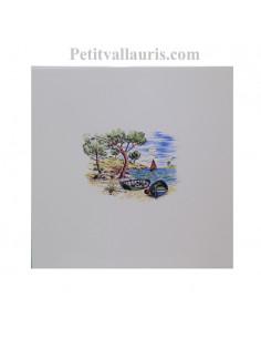 Carreau de faience au décor motif paysage calanque de provence le cabanon taille carreau 20 x 20 cm