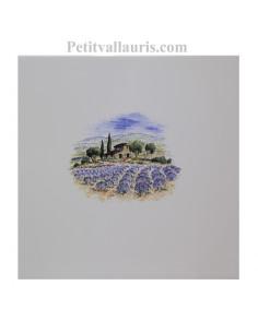Carreau de faience au décor motif paysage champs de lavande de provence taille carreau 20 x 20 cm